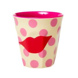 Rice Medium Melamine Cup - Kiss Print