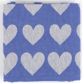 Bunzlau Tea Towel Hearts Royal Blue