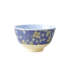 Rice Small Melamine Bowl - Two Tone - Hanging Flower Print