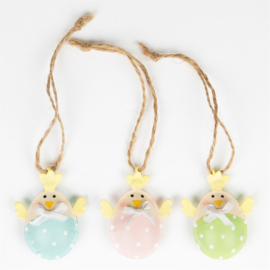 Sass & Belle Mini Spring Chick in Eggs Hanging Decoration Assorted -Set of 3-