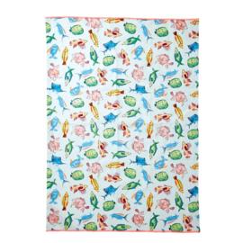 Rice Tea Towel - Fish Print - Neon Piping