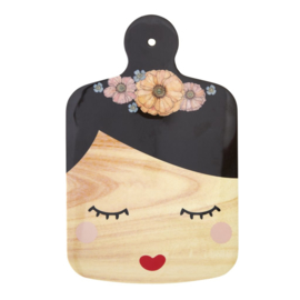 Rice Melamine Cutting Board with Sweet Face and Black Hair