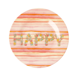 Rice Melamine Side Plate with Happy Pink Print -bord met rand-