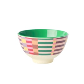 Rice Small Melamine Bowl - Two Tone - Summer Stripes Print *vernieuwd model*