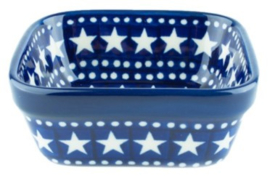 Bunzlau Square Bowl 170 ml 10 x 10 cm Blue Stars