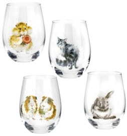 Wrendale Designs Assorted Domestic Animals Tumblers -Set of 4-