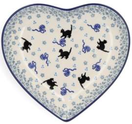 Bunzlau Heart Shape Dish Cat -Limited Edition-