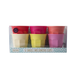 Rice Melamine Cup in 6 Assorted Sunny Colors - Small - 6 pcs.