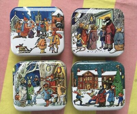 Emma Bridgewater Winter Scene Hinged Lid Square Pocket Tin -per stuk-