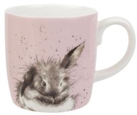 Wrendale Designs Large 'Bathtime' Mug -licht roze achtergrond-