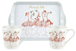Wrendale Designs Flamingle Bells Mug and Tray Set -kerst-