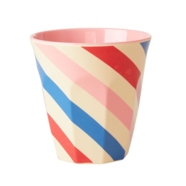Rice Medium Melamine Cup with Candy Stripes Print