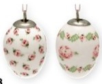 GreenGate Stoneware Decorative Egg Lily petit white -set of 2- in Giftbox