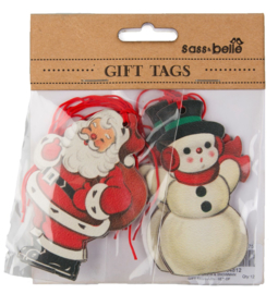 Sass & Belle Gift Tags Retro Santa Snowman -Set of 10-