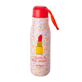 Rice Isolating Drinking Bottle with Small Flower and Lipstick print - RVS