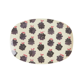 Rice Small Melamine Rectangular Plate - Blackberry Print -