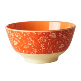 Rice Medium Melamine Bowl - Orange Fall Flower Print