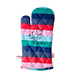 Rice Oven Mitten - 'Believe in Red Lipstick' stripes Print