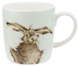 Wrendale Designs Large 'Hare Brained' Mug -licht groene achtergrond-