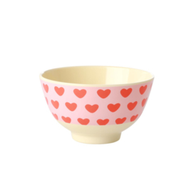 Rice Small Melamine Bowl - Sweet Hearts Print