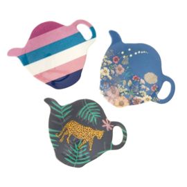 Rice Melamine Tea Bag Plate - 3 Assorted 'Simply Yes' Prints