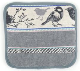 Bunzlau Kitchen Pot Holder Birds Grey