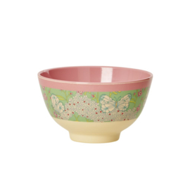 Rice Small Melamine Bowl with Two Tone Butterfly & Flower Print