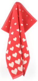 Bunzlau Kitchen Towel Hearts Red
