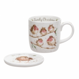 Wrendale Designs Family Christmas Mug & Coaster Set