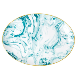 Rice Porcelain Serving Platter - Marble Print - Jade