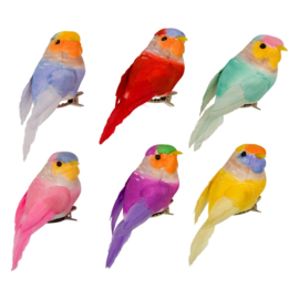 Rice Assorted Small Gift Wrapping Deco Birds with Clip -set of 6-