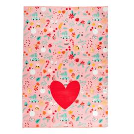 Rice Tea Towel - All Over X-mas Print - Neon Piping