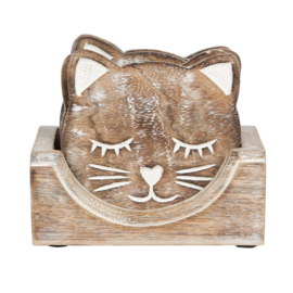Sass & Belle Coasters -set of 6- Carved Cat