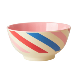 Rice Medium Melamine Bowl - Candy Stripes Print