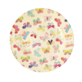 Rice Melamine Side Plate with Butterfly Print -bord met rand-
