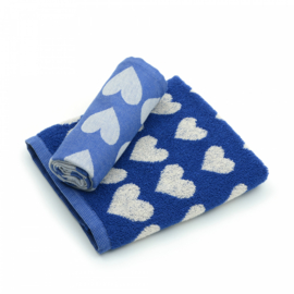 Bunzlau Kitchen Towel Hearts Royal Blue