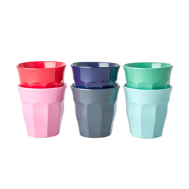 Rice Small Melamine Cup in 6 Assorted 'Believe in Red Lipstick' Colors - 6 pcs. (zonder omdoosje)