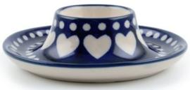 Bunzlau Egg Cup Flat Blue Valentine
