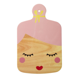 Rice Melamine Cutting Board with Sweet Face Print and Pink Hair