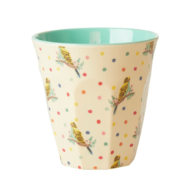 Rice Medium Melamine Cup with Budgie Print