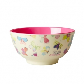 Rice Melamine Bowl Two Tone with Butterfly Print