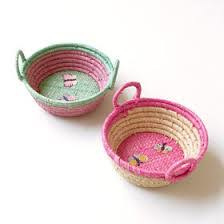 Rice Raffia Mini Basket with Butterfly Embroidery
