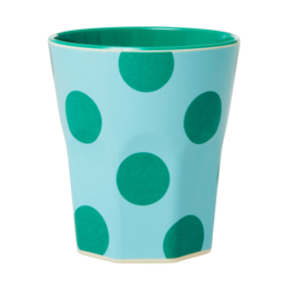 Rice Jumbo Melamine Cup - Mint with Green Dots Print