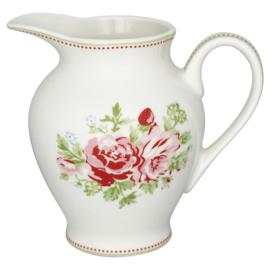 GreenGate Creamer round Mary white  -stoneware-
