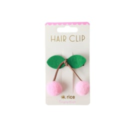 Rice Hair Clip with Soft Pink Cherry
