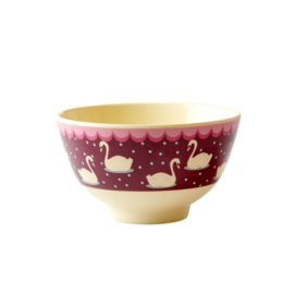 Rice Small Melamine Bowl with Swan Print - Bordeaux