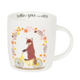 Sass & Belle Mug Fox on Bike -Follow your Dreams-