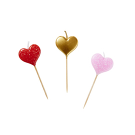 Rice 6 Heart Shaped Cake Candles in Assorted Colors