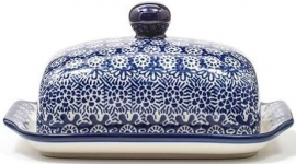 Bunzlau Butter Dish with Plate Lace