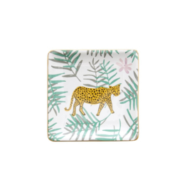 Rice Ceramic Jewelry Dish in Giftbox - Leopard and Leaves Print